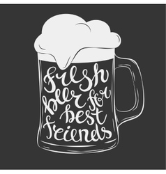 Hand drawn lettering for with mug of beer vector