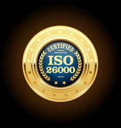 Iso 26000 standard medal - social responsibility vector