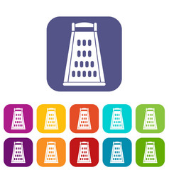 Kitchen grater icons set vector