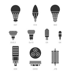Led light lamp bulbs silhouette icon set vector