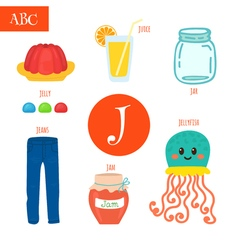 Letter J Cartoon alphabet for children Jellyfish vector image vector image