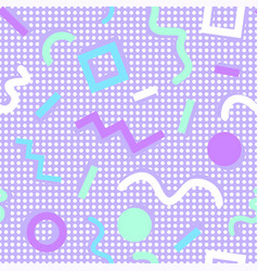 Memphis pattern shapes colors purple background vector