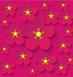 Paper flowers burgundy background vector