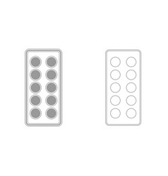 pills in blister grey set icon vector image vector image