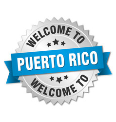 Puerto rico 3d silver badge with blue ribbon vector