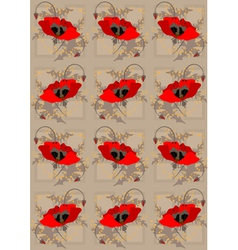 Red poppies light brown seamless background vector image