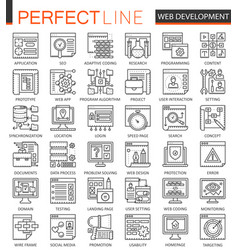 seo and development outline concept symbols vector image vector image