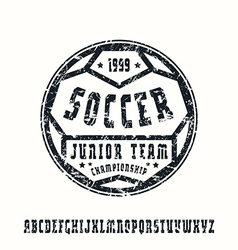 Serif font in sport style soccer vector