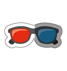 silhouette sticker of 3d cinema glasses vector image