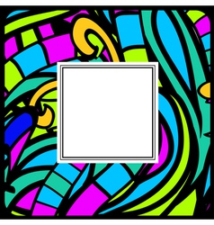 Stained-glass abstract frame vector