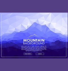 Triangle low poly landscape with blue mountains vector