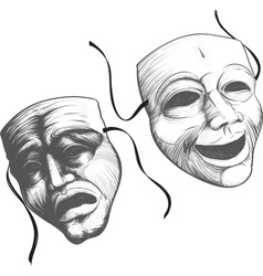 two theatre masks vector image vector image