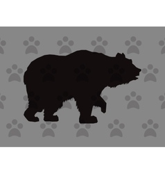 Walking bear silhouette icon over pattern vector
