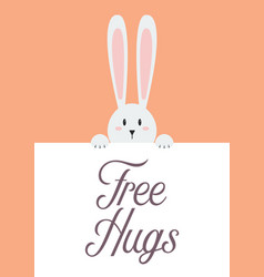 White rabbit with free hugs sign vector