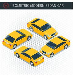 yellow sedan car vector image vector image