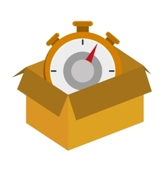 Cardboard box with chronometer icon vector