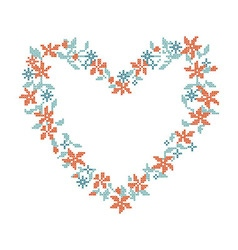 Knitted background with heart frame vector
