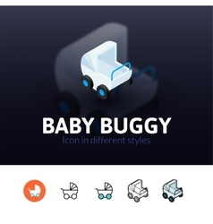 Baby buggy icon in different style vector