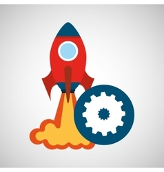 rocket launch start up business gear work graphic vector image