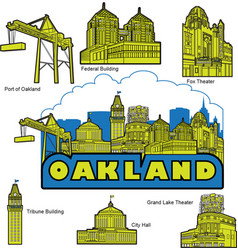 Oakland california building and landmarks vector