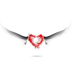 Red heart and gray wings design vector