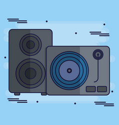 Turntable and speaker icon vector