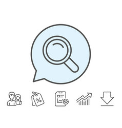 Search line icon magnifying glass sign vector