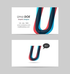 Business card template - letter u vector