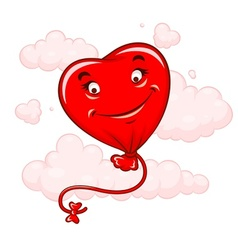 Red heart flying among clouds vector image