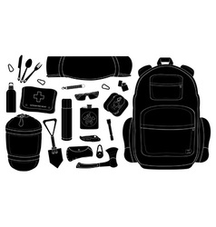 Camping set black vector