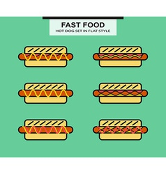 Set of different shape hotdog vector