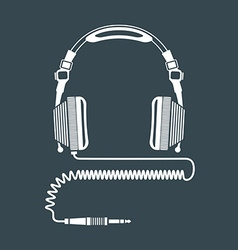 Solid color big dj headphones device vector