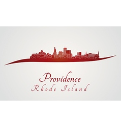 Providence skyline in red vector