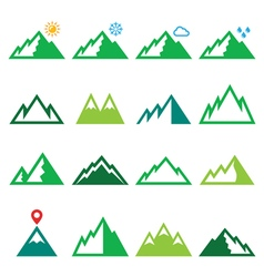Mountains nature green icons set vector