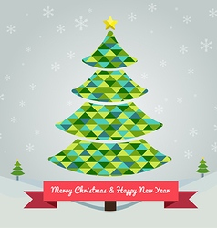 Christmas tree in green colors abstract vector