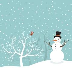 Snowman in winter vector