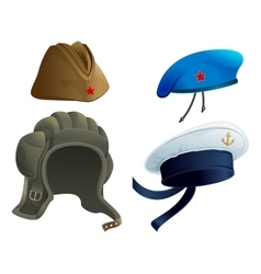 Set military army headdress russian military vector