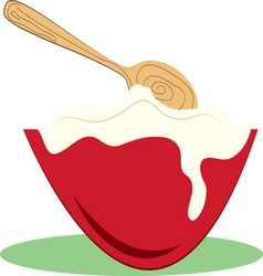Bowl and spoon vector