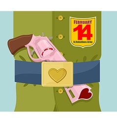 Valentines day love gun military clothing and vector