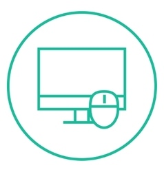 Computer monitor and mouse line icon vector