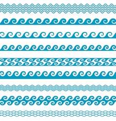 Seamless wave line pattern borders set vector