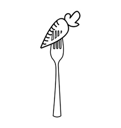 Fork with carrot isolated icon design vector