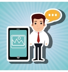 Man with cellphone isolated icon design vector