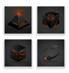 Abstract geometric glowing figures square pyramid vector