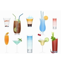 Alcohol cocktails and other fresh drinks vector image