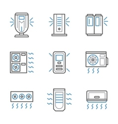 Black and blue line air conditioners icons vector image
