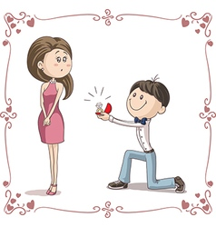 Boyfriend and Girlfriend Getting Engaged Cartoon vector image vector image