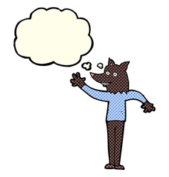 Cartoon waving wolf man with thought bubble vector