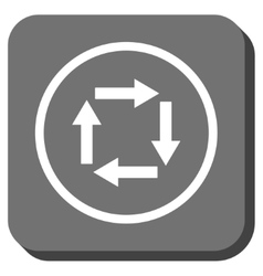 Circulation arrows rounded square icon vector