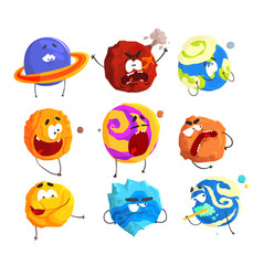 colorful cartoon planets with funny faces and vector image vector image